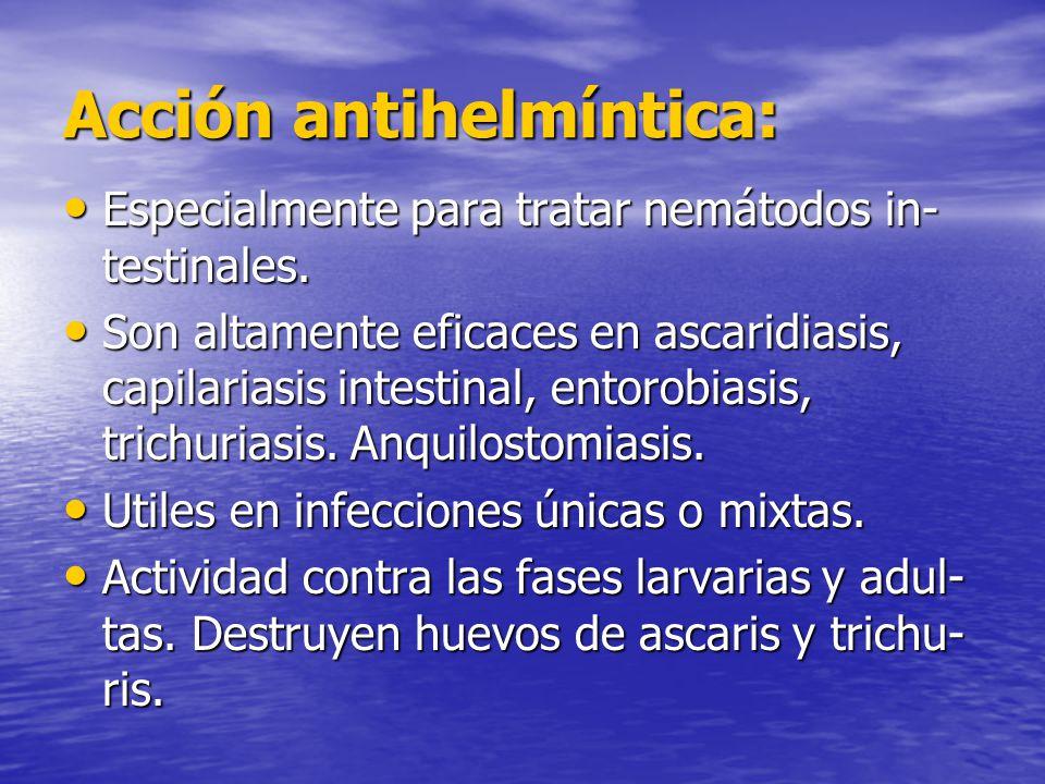 Acción antihelmíntica: