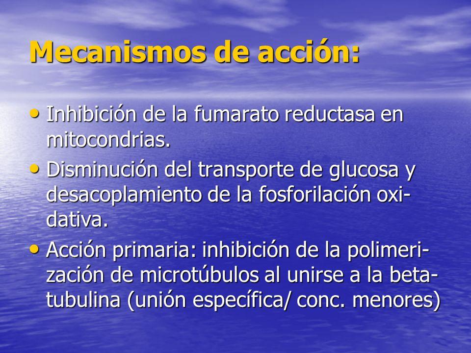 Mecanismos de acción: Inhibición de la fumarato reductasa en mitocondrias.