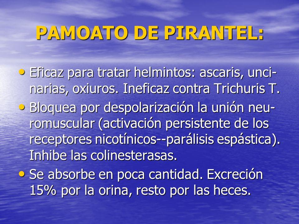 PAMOATO DE PIRANTEL: Eficaz para tratar helmintos: ascaris, unci-narias, oxiuros. Ineficaz contra Trichuris T.