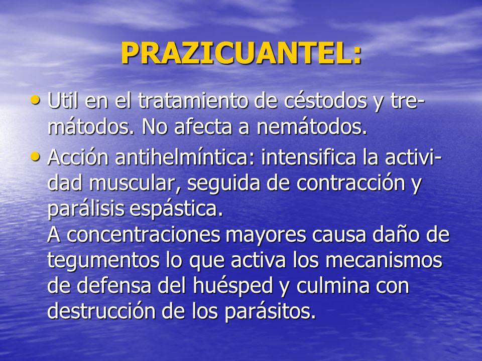 PRAZICUANTEL: Util en el tratamiento de céstodos y tre-mátodos. No afecta a nemátodos.