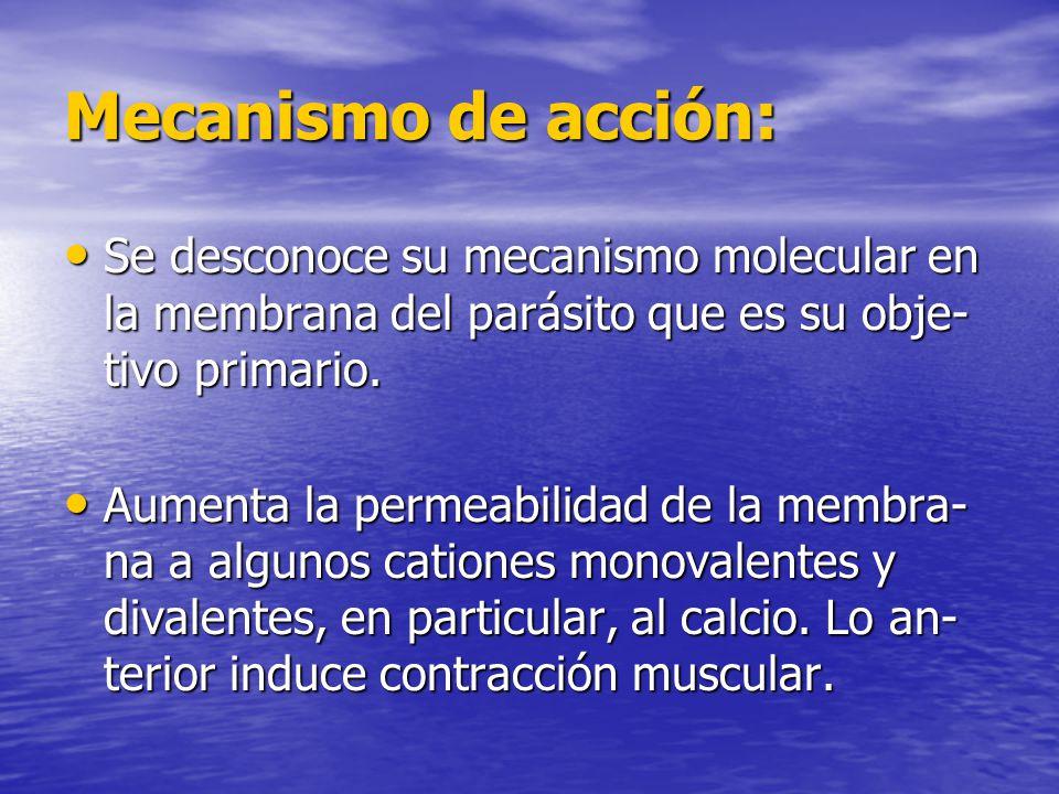 Mecanismo de acción: Se desconoce su mecanismo molecular en la membrana del parásito que es su obje-tivo primario.
