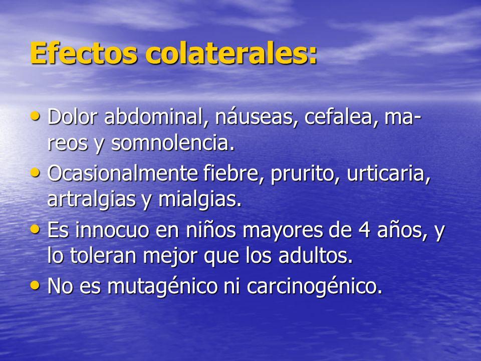 Efectos colaterales: Dolor abdominal, náuseas, cefalea, ma-reos y somnolencia. Ocasionalmente fiebre, prurito, urticaria, artralgias y mialgias.