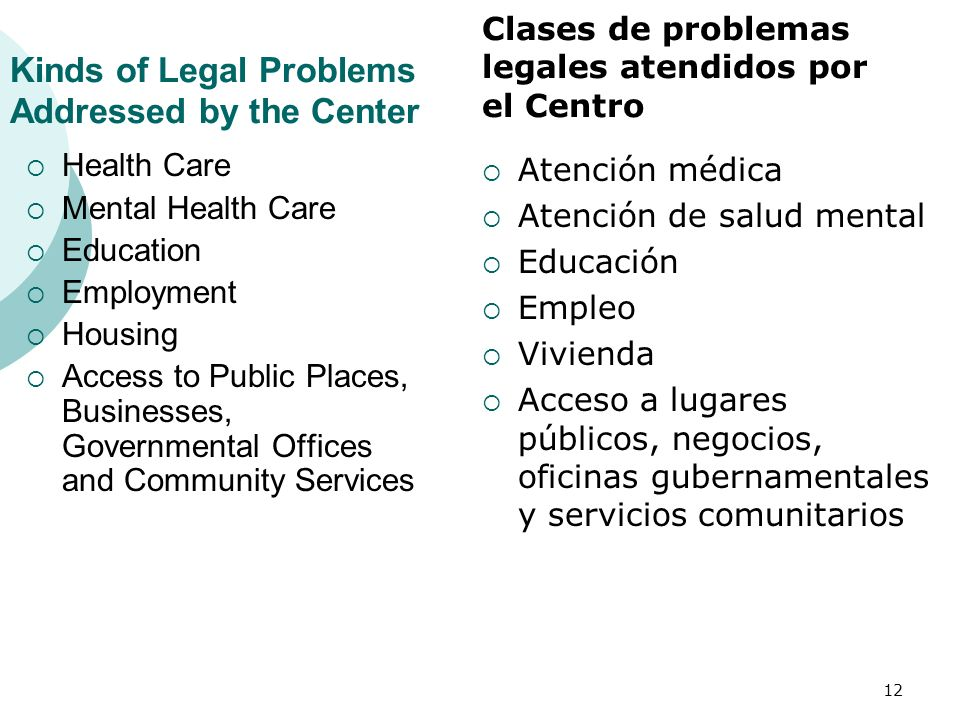 Kinds of Legal Problems Addressed by the Center