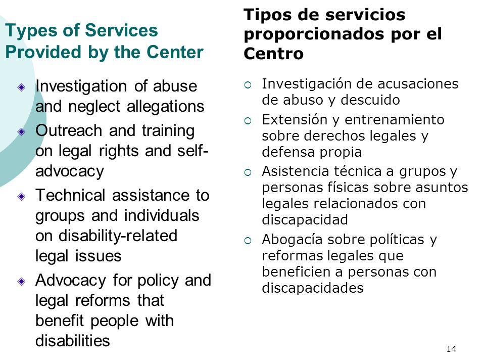 Types of Services Provided by the Center