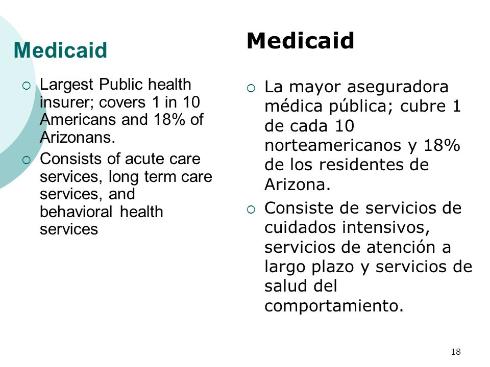 Medicaid Medicaid. Largest Public health insurer; covers 1 in 10 Americans and 18% of Arizonans.