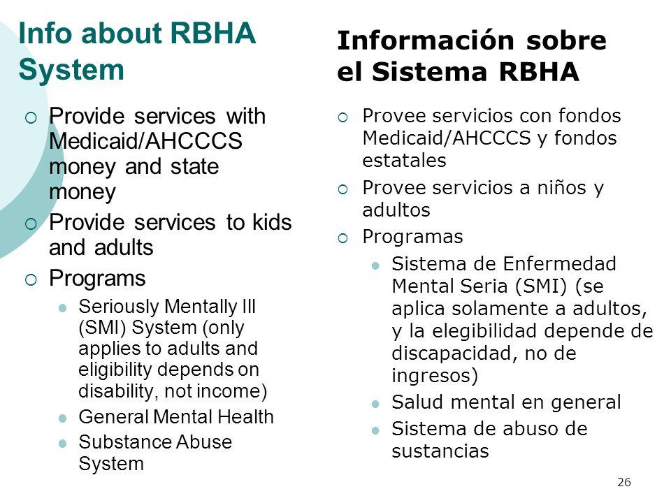 Info about RBHA System Información sobre el Sistema RBHA