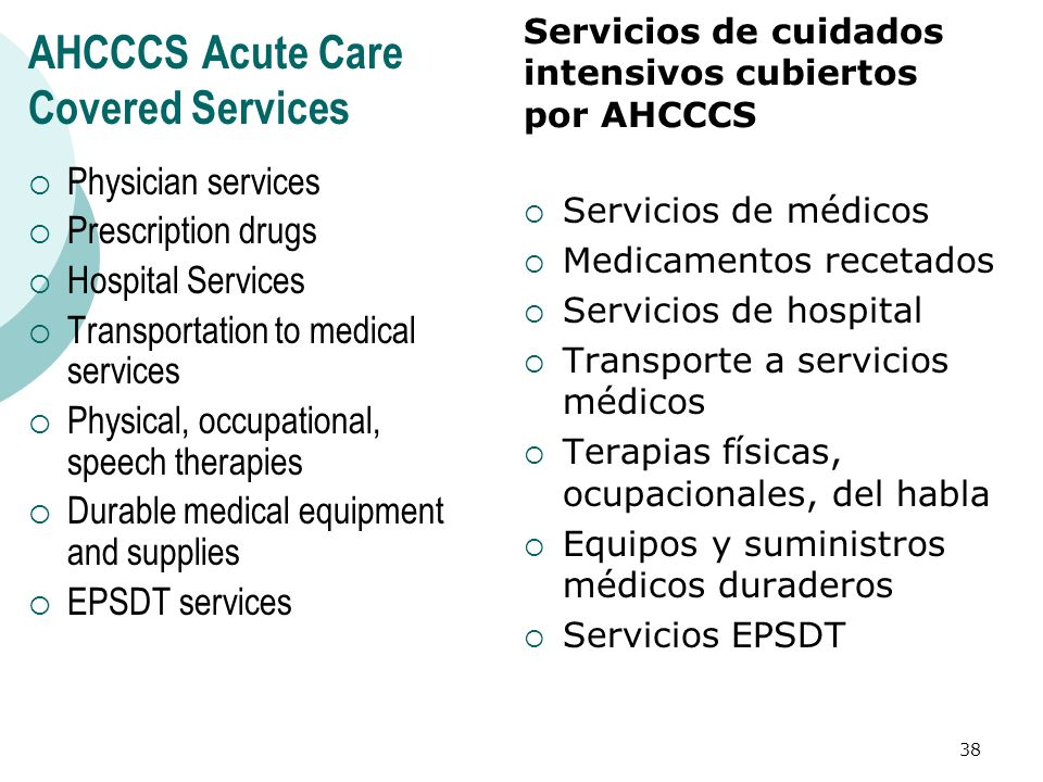 AHCCCS Acute Care Covered Services