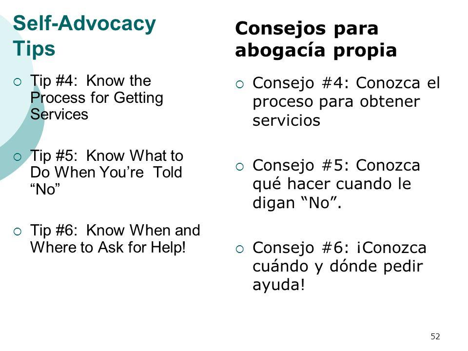 Self-Advocacy Tips Consejos para abogacía propia