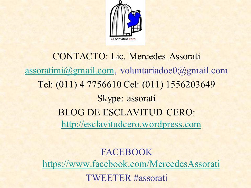 CONTACTO: Lic. Mercedes Assorati