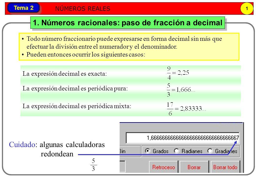 1. Números racionales: paso de fracción a decimal