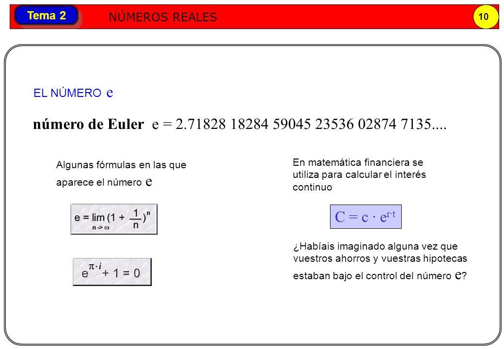 EL NÚMERO e número de Euler e = 2.71828 18284 59045 23536 02874 7135.... Algunas fórmulas en las que aparece el número e.