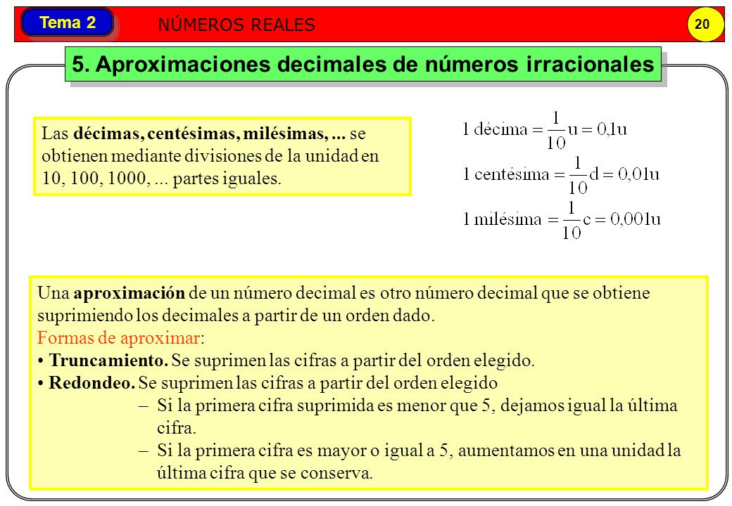 5. Aproximaciones decimales de números irracionales