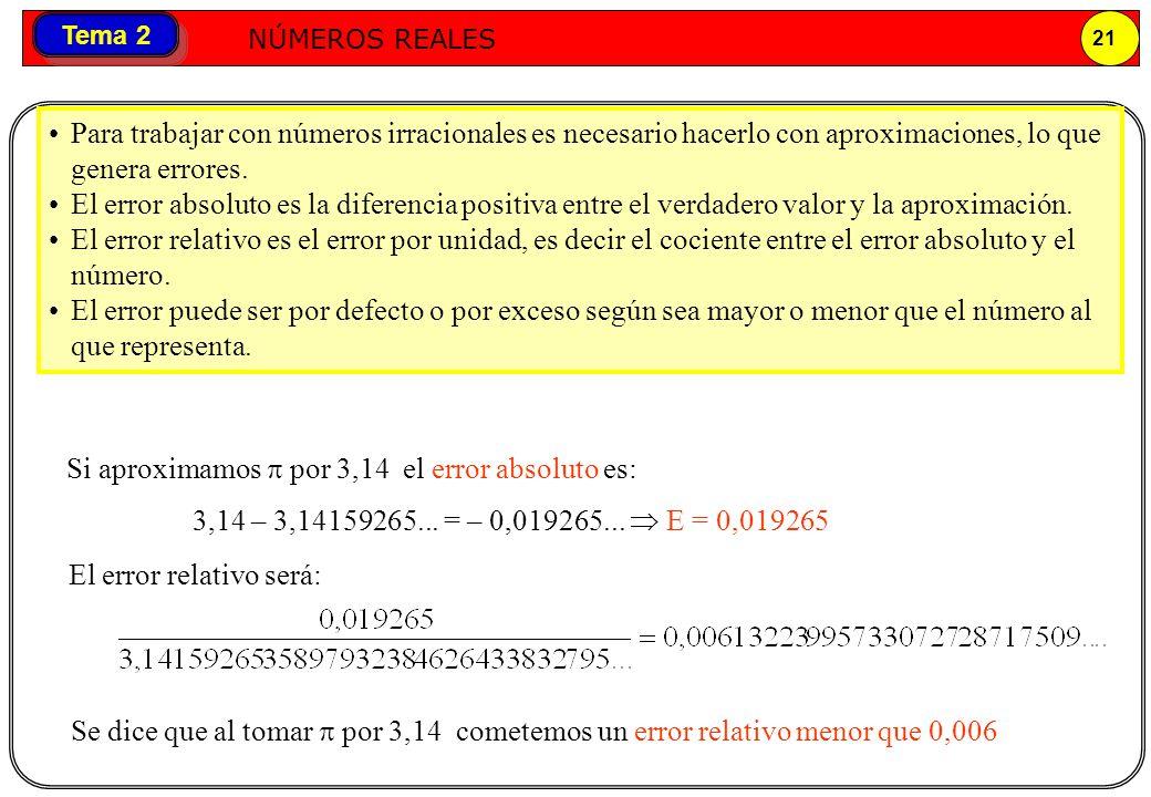 Para trabajar con números irracionales es necesario hacerlo con aproximaciones, lo que genera errores.