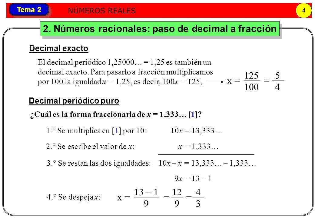 2. Números racionales: paso de decimal a fracción