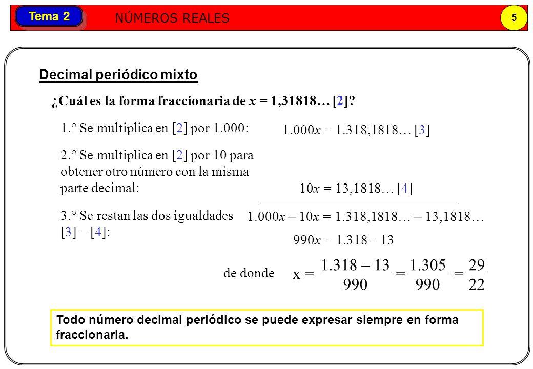 x = = = 29 22 1.318 – 13 990 1.305 Decimal periódico mixto