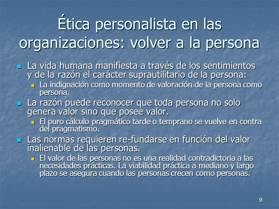 Ética personalista en las organizaciones: volver a la persona