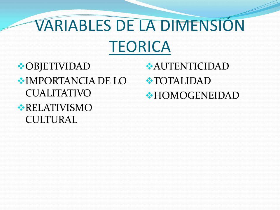 VARIABLES DE LA DIMENSIÓN TEORICA