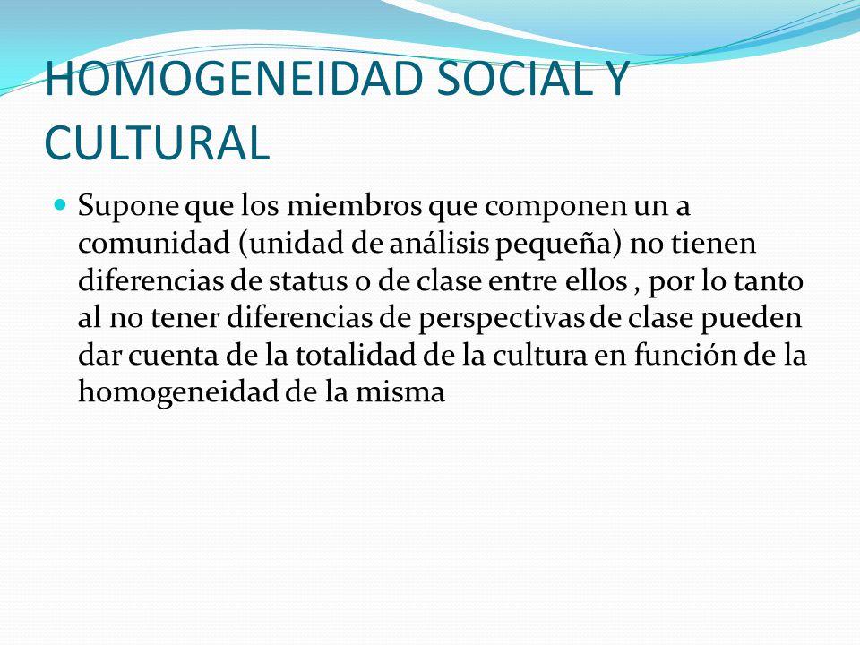 HOMOGENEIDAD SOCIAL Y CULTURAL