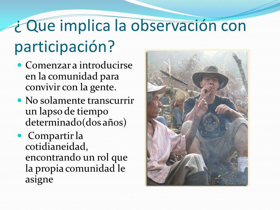 ¿ Que implica la observación con participación