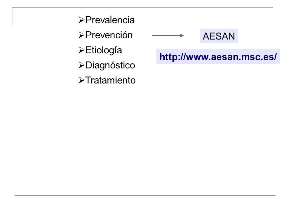 Prevalencia Prevención Etiología Diagnóstico Tratamiento AESAN http://www.aesan.msc.es/