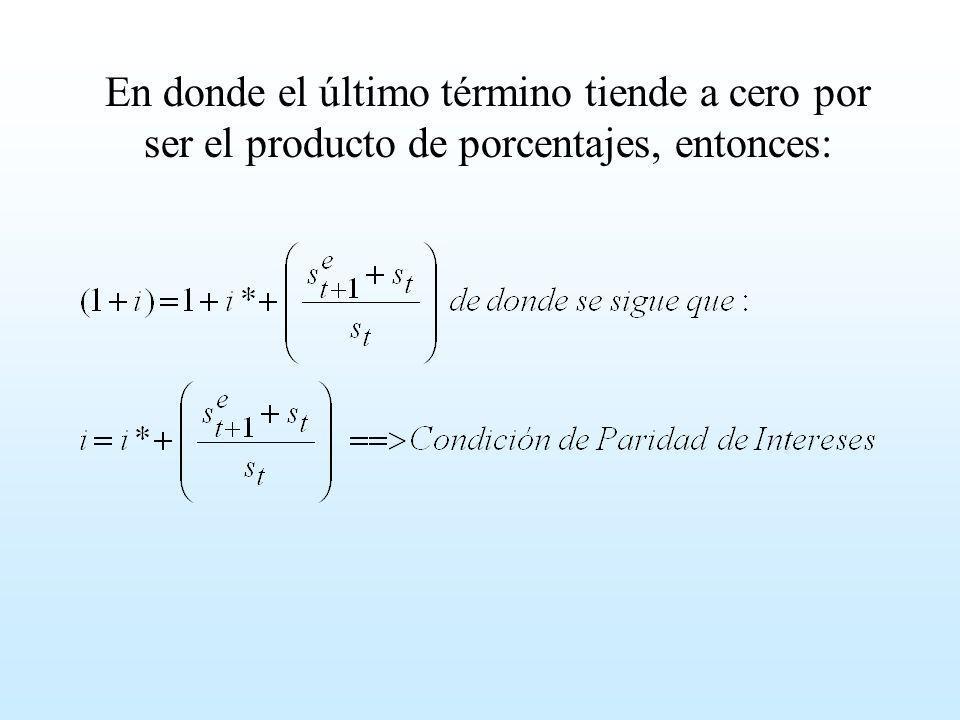 En donde el último término tiende a cero por ser el producto de porcentajes, entonces: