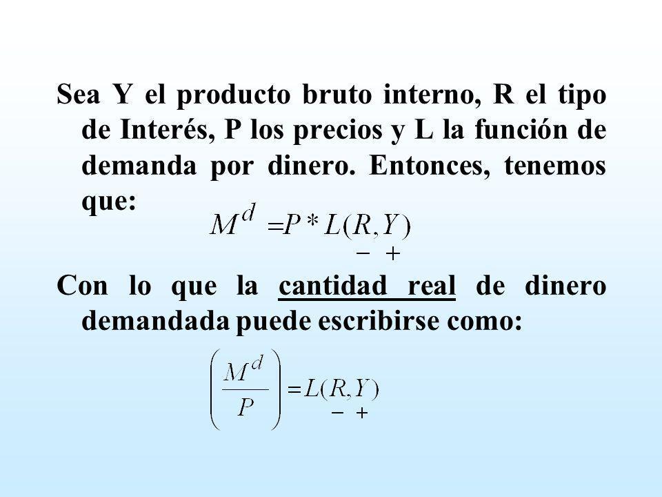 Sea Y el producto bruto interno, R el tipo de Interés, P los precios y L la función de demanda por dinero. Entonces, tenemos que: