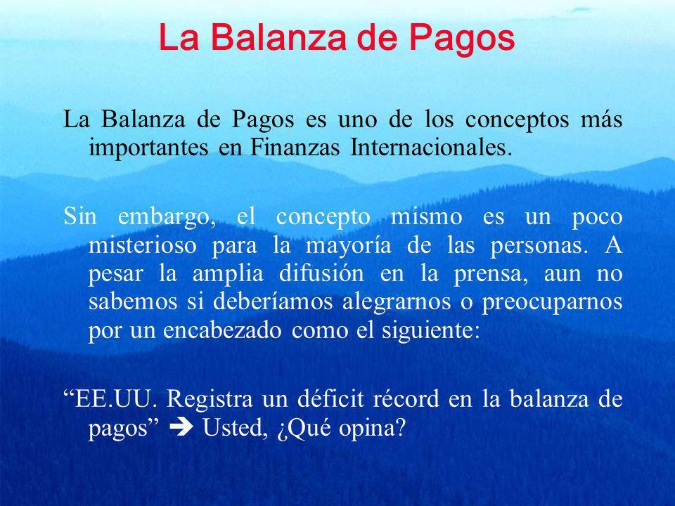 La Balanza de Pagos La Balanza de Pagos es uno de los conceptos más importantes en Finanzas Internacionales.