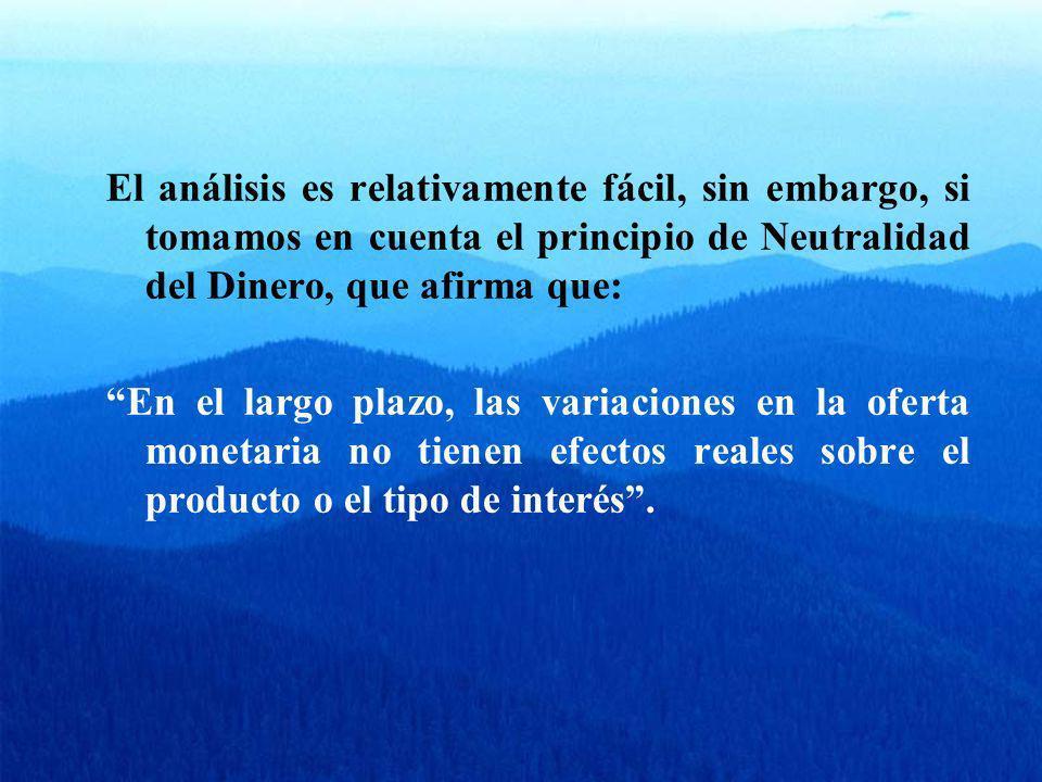El análisis es relativamente fácil, sin embargo, si tomamos en cuenta el principio de Neutralidad del Dinero, que afirma que: