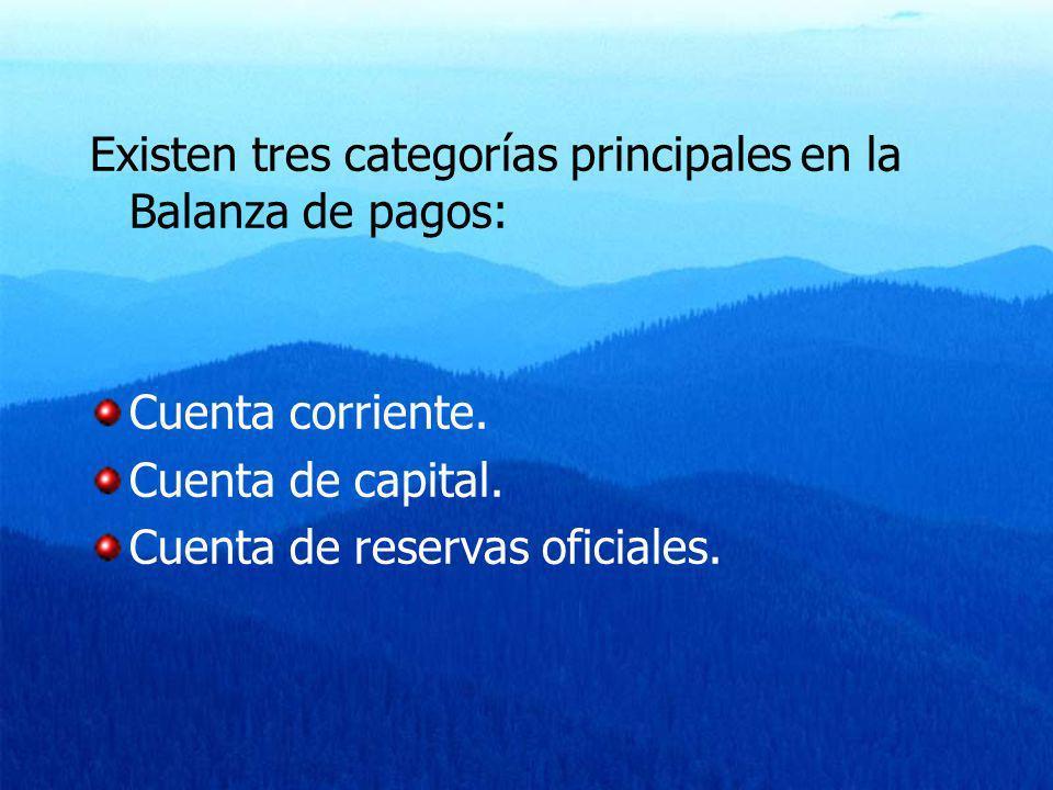 Existen tres categorías principales en la Balanza de pagos: