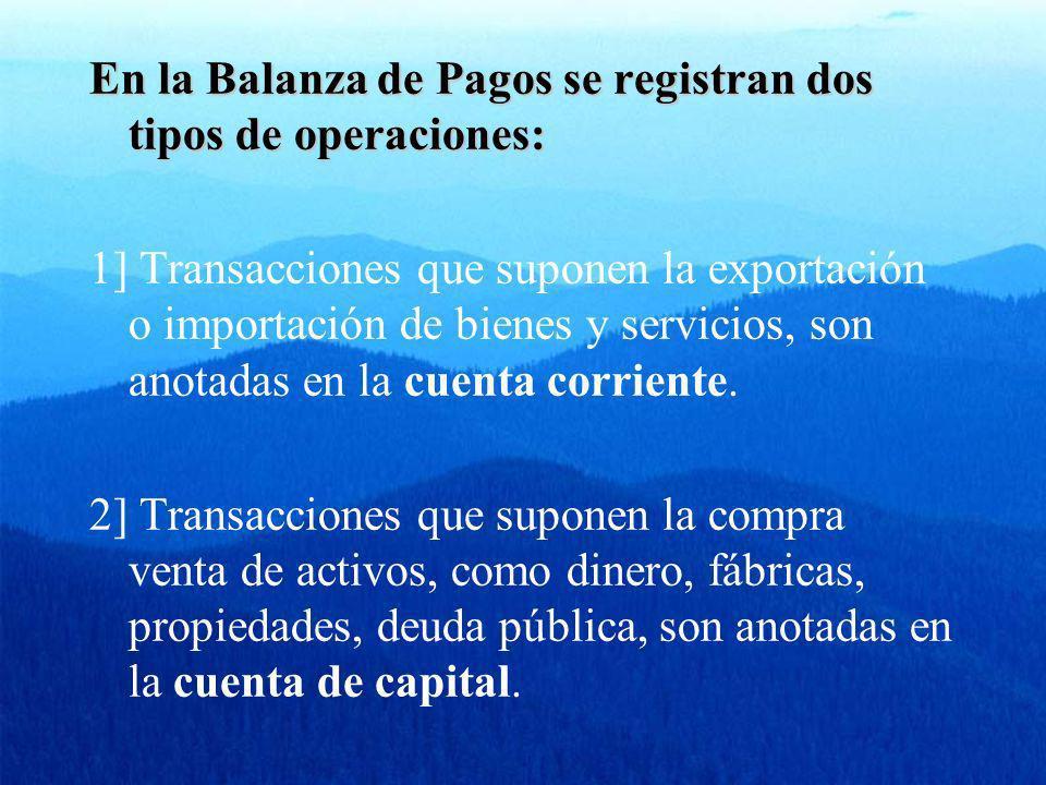 En la Balanza de Pagos se registran dos tipos de operaciones: