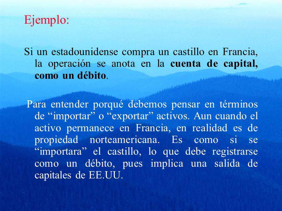 Ejemplo: Si un estadounidense compra un castillo en Francia, la operación se anota en la cuenta de capital, como un débito.