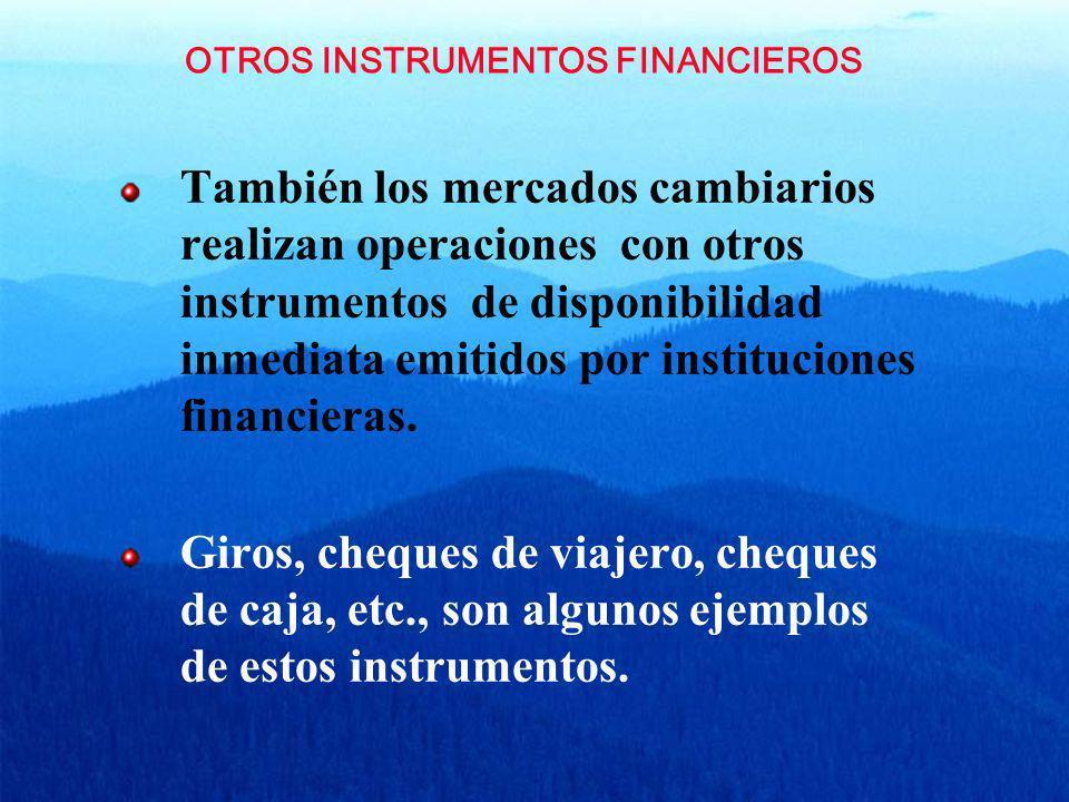 OTROS INSTRUMENTOS FINANCIEROS