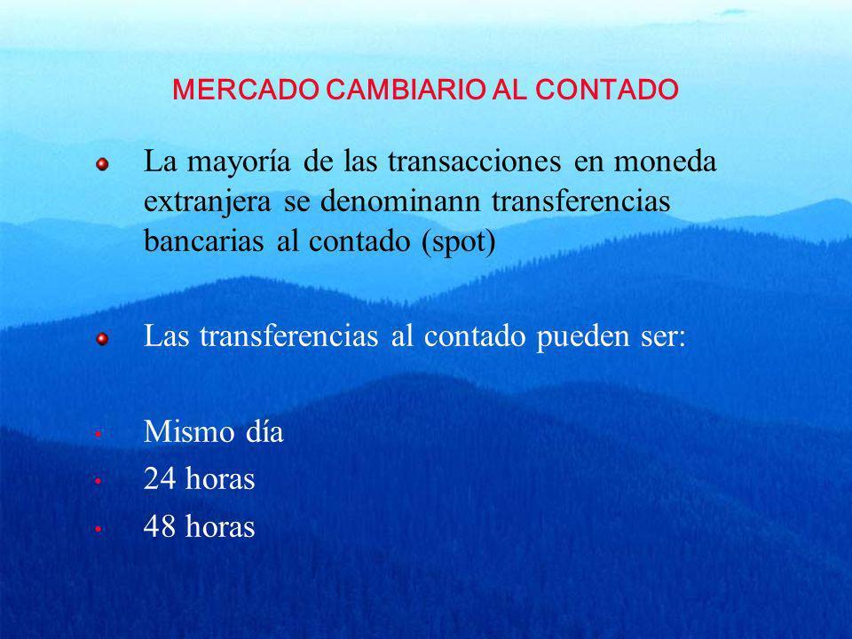 MERCADO CAMBIARIO AL CONTADO