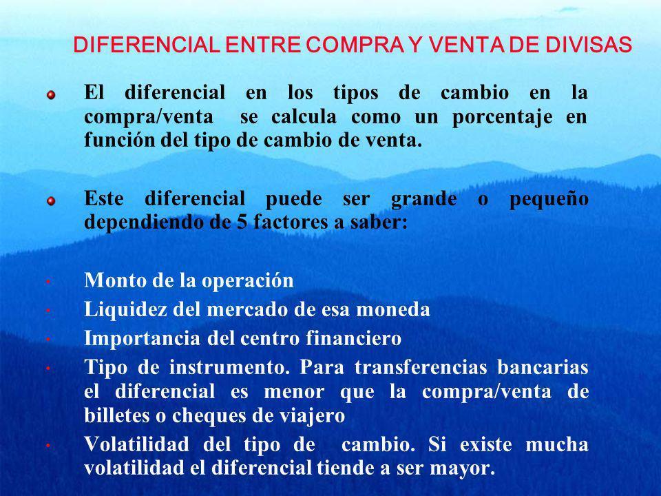 DIFERENCIAL ENTRE COMPRA Y VENTA DE DIVISAS