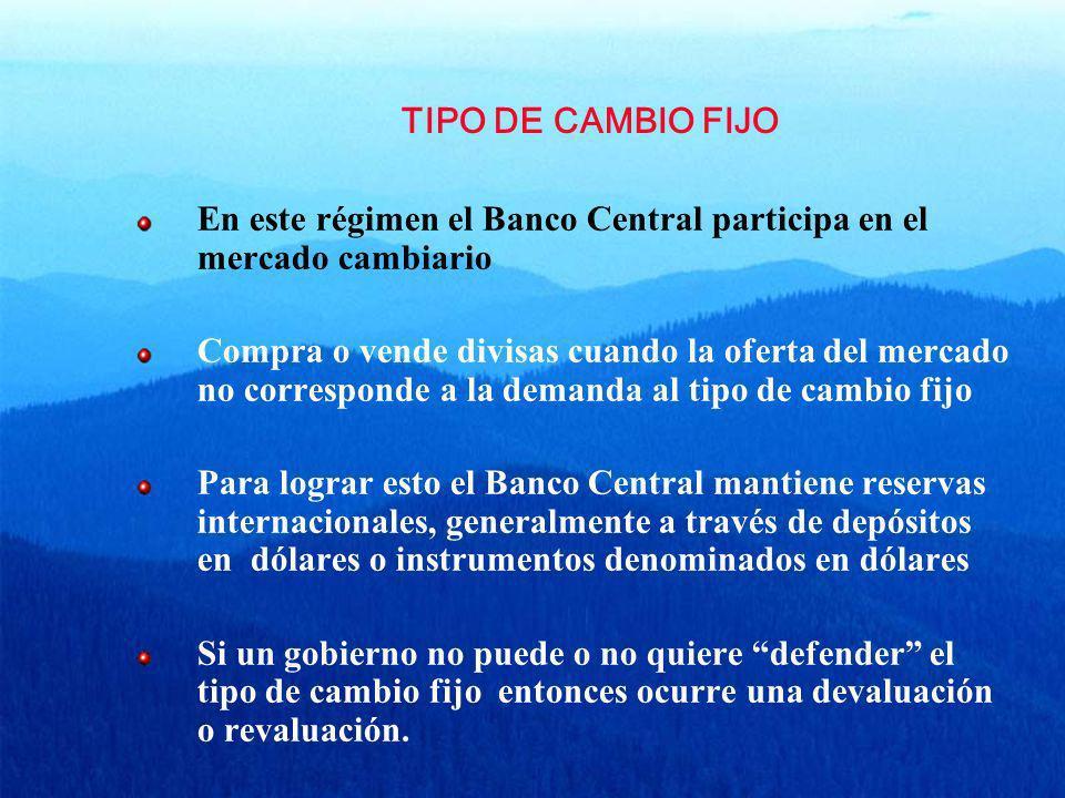 TIPO DE CAMBIO FIJO En este régimen el Banco Central participa en el mercado cambiario.