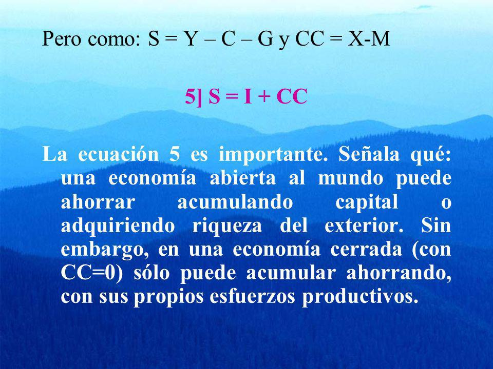 Pero como: S = Y – C – G y CC = X-M