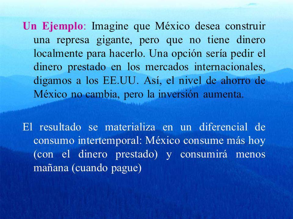 Un Ejemplo: Imagine que México desea construir una represa gigante, pero que no tiene dinero localmente para hacerlo. Una opción sería pedir el dinero prestado en los mercados internacionales, digamos a los EE.UU. Así, el nivel de ahorro de México no cambia, pero la inversión aumenta.