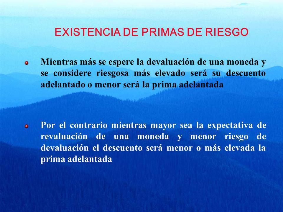 EXISTENCIA DE PRIMAS DE RIESGO