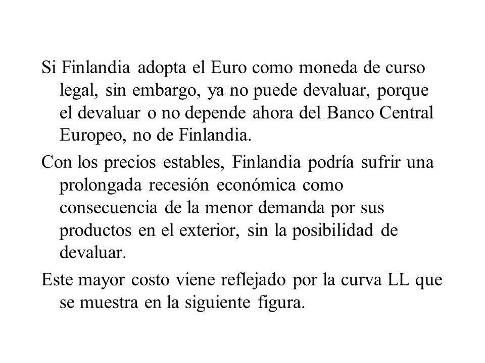 Si Finlandia adopta el Euro como moneda de curso legal, sin embargo, ya no puede devaluar, porque el devaluar o no depende ahora del Banco Central Europeo, no de Finlandia.