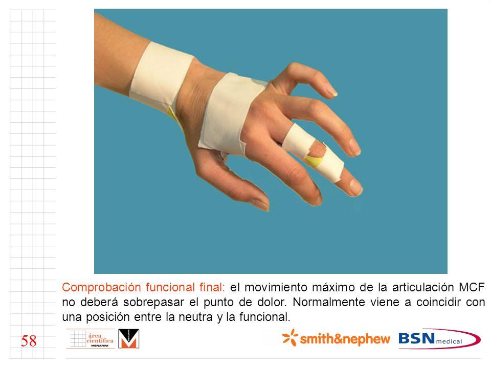 Comprobación funcional final: el movimiento máximo de la articulación MCF no deberá sobrepasar el punto de dolor. Normalmente viene a coincidir con una posición entre la neutra y la funcional.