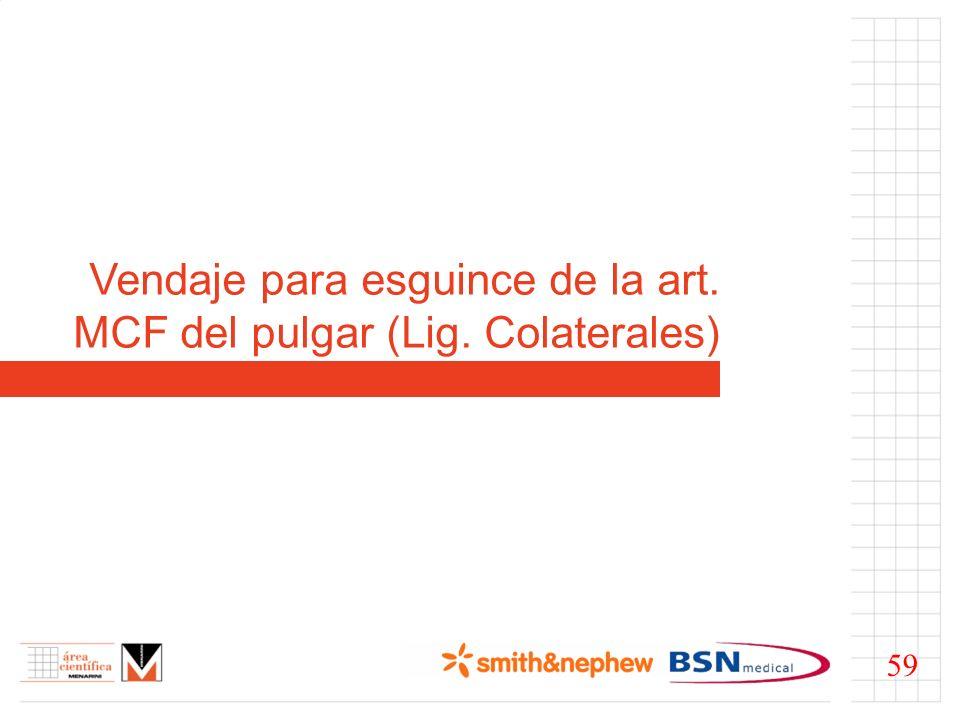 Vendaje para esguince de la art. MCF del pulgar (Lig. Colaterales)