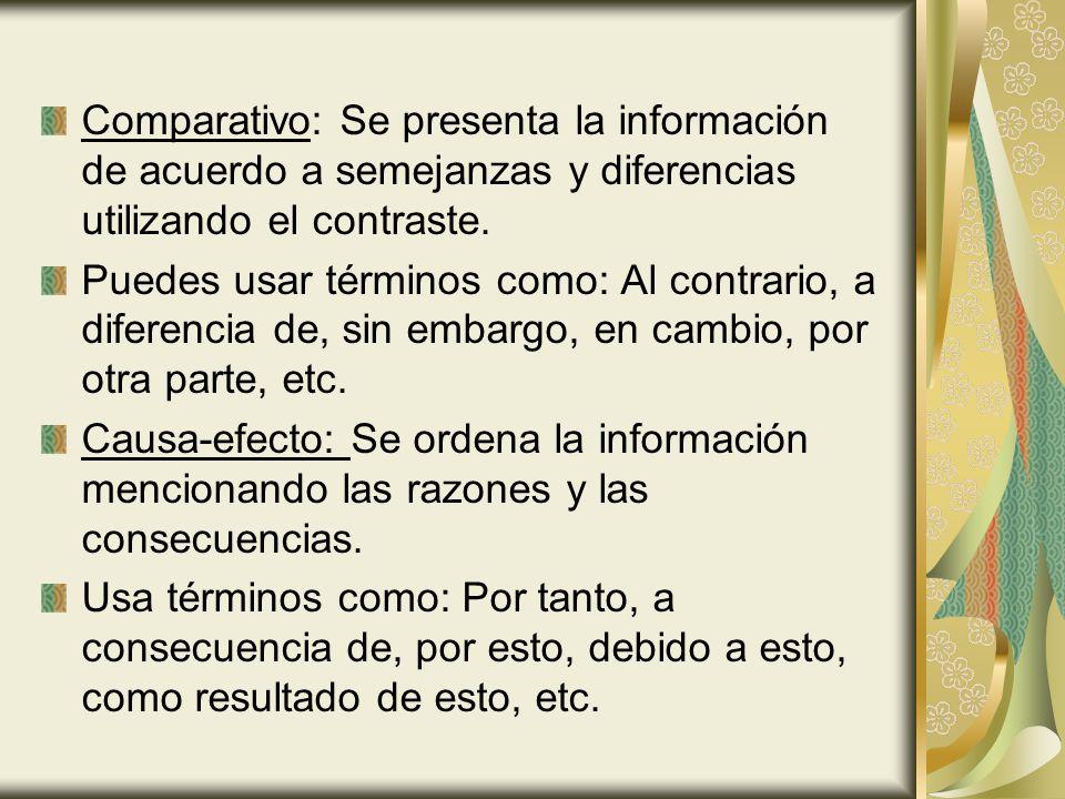 Comparativo: Se presenta la información de acuerdo a semejanzas y diferencias utilizando el contraste.