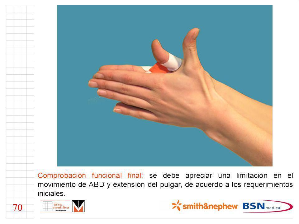Comprobación funcional final: se debe apreciar una limitación en el movimiento de ABD y extensión del pulgar, de acuerdo a los requerimientos iniciales.