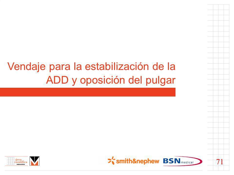 Vendaje para la estabilización de la ADD y oposición del pulgar