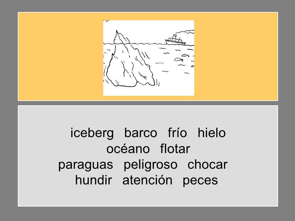 iceberg barco frío hielo océano flotar paraguas peligroso chocar