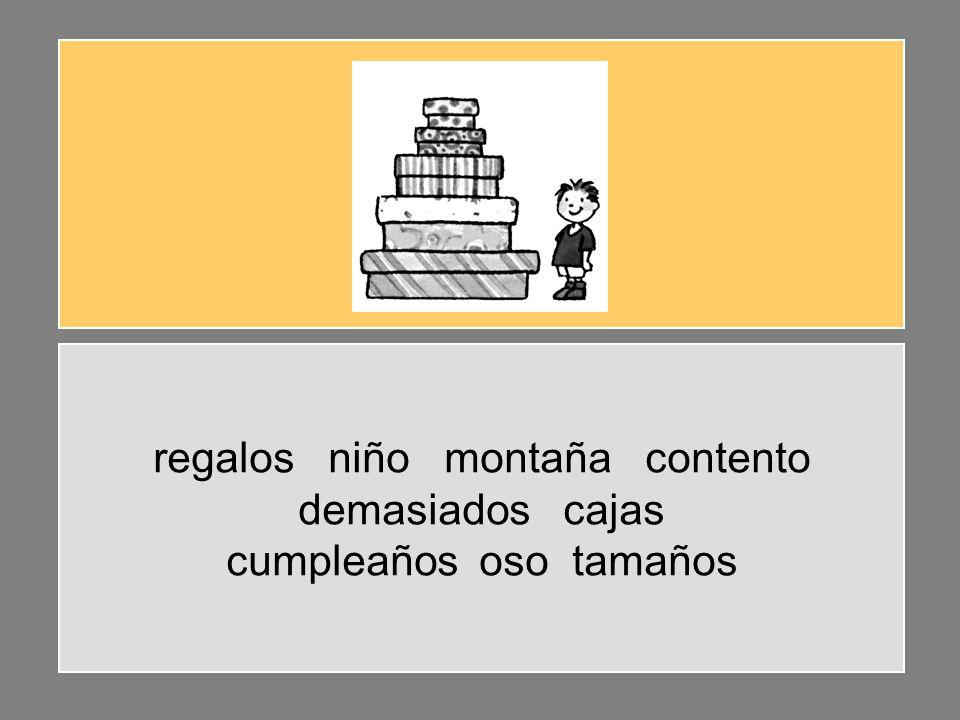 regalos niño montaña contento demasiados cajas cumpleaños oso tamaños