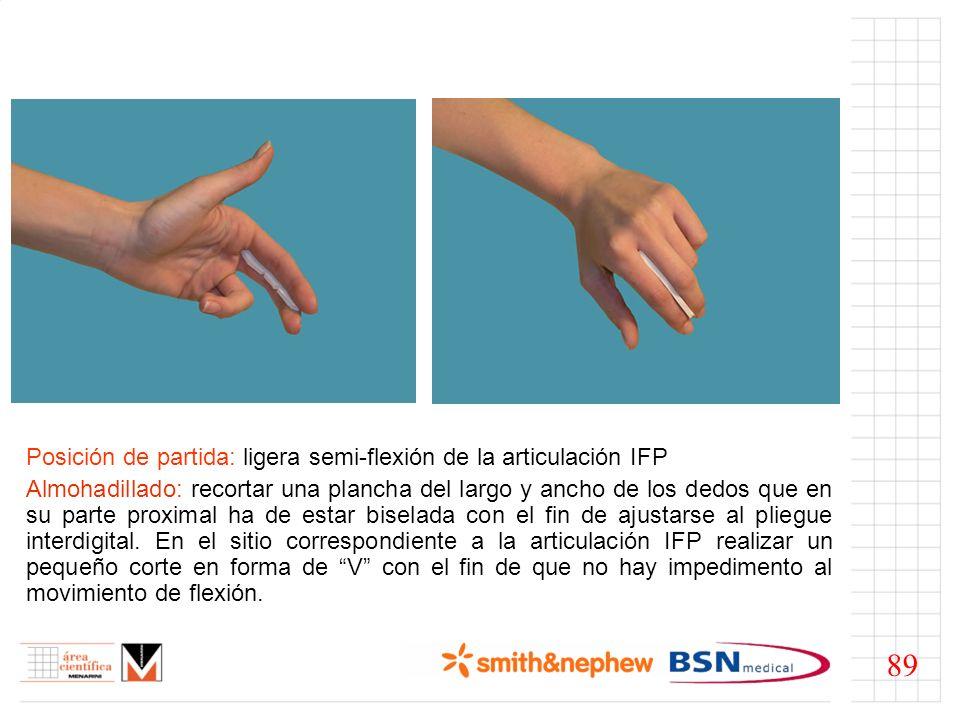 89 Posición de partida: ligera semi-flexión de la articulación IFP