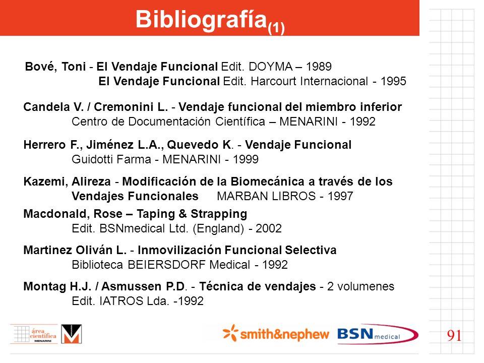 Bibliografía(1) Bové, Toni - El Vendaje Funcional Edit. DOYMA – 1989. El Vendaje Funcional Edit. Harcourt Internacional - 1995.