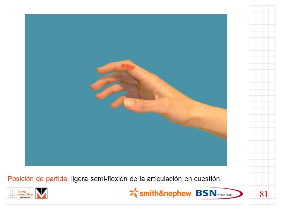 Posición de partida: ligera semi-flexión de la articulación en cuestión.