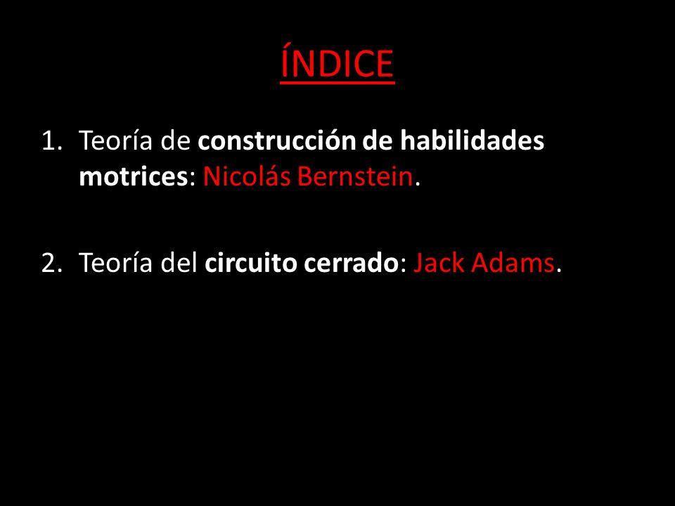ÍNDICE Teoría de construcción de habilidades motrices: Nicolás Bernstein.